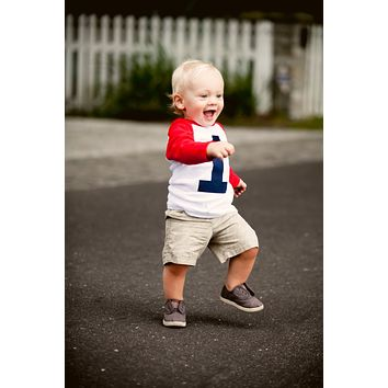 Boys 1st Birthday Outfit My First Birthday Red and White Raglan Shirt- Raglan boys 1st Birthday T Shirt Boy 12 months cake smash photography