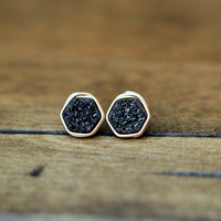 Hexagon Druzy Studs - Eclipse