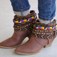Cleadora Beaded Boots-Cognac