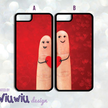 Set of 2 Cute Finger Couple Love Valentines Hearts Best Friends iPhone 4 4s 5 5s 5c 6 6+ cases black/white silicone/plastic i phone covers