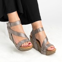 Gladiator Wedge Sandals - Pewter