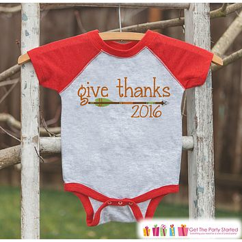 Kids Give Thanks 2016 Shirt - Arrow Thanksgiving Outfit - Boy or Girl Thanksgiving Shirt - Red Raglan Tshirt or Onepiece - Boho, Indian