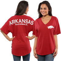 Arkansas Razorbacks Women's Oversized Short Sleeve Spirit Jersey V-Neck Top - Cardinal