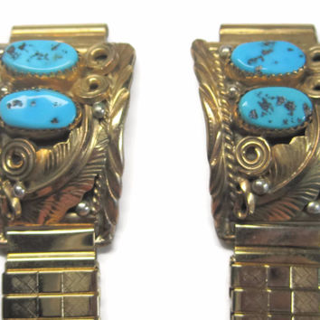 Vintage Navajo Gold Filled Turquoise Watch Tips Bands Albert Yazzie