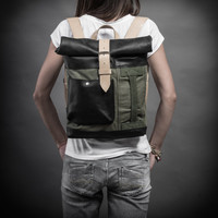 Canvas and leather backpack by Kruk Garage Original Collection Backpack made of British army duffle bag Roll top backpack Small backpack