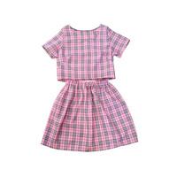 SALE Pink Cher Tartan Plaid Co-ord Two Piece Twinset Womens Fashion Clothes Check Short Sleeve Top Skater High Waist Skirt Clothing Style