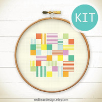 Modern Geometric Cross Stitch KIT-Play with Squares n Lines- Funny Modern Colorful Abstract triangle Minimalist home deco embroidery gift