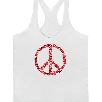 Peace Sign Hearts Red Mens String Tank Top