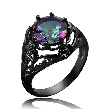 Vintage Pattern Black Gun Plated Rainbow Fire Crystal CZ Rings Fashion Jewelry  Women Evening Party Cocktail Rings Gift R036