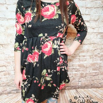 Babydoll Floral Tunic Top - Black - Small only