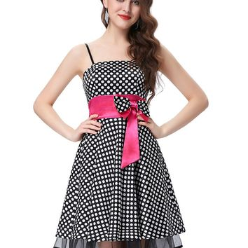 Sexy Spaghetti Strap Cocktail Dresses 2017 Black Polka Dots Short Special Occasion Dresses Robe Courte Cocktail Party Dress 0087
