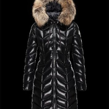 Moncler BELLOY Turtleneck Fur-Trimmed Hood Black Coats Nylon/Polyamide Womens 41461298AB