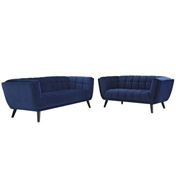 Bestow 2 Piece Velvet Sofa and Loveseat Set Navy EEI-2979-NAV-SET