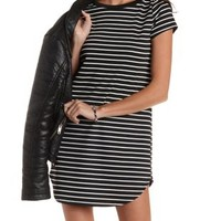 Black Combo Striped T-Shirt Shift Dress by Charlotte Russe