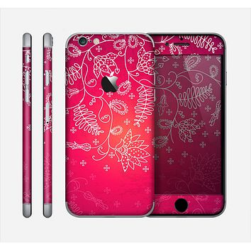 The Vibrant Pink & White Branch Illustration Skin for the Apple iPhone 6