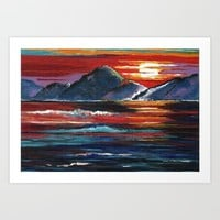 Mountain Sunset Art Print by Kathleen Sartoris