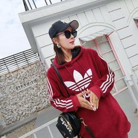 Women Long Adidas Sweater Thickened Hoodies With Hat