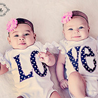 Twin Matching LOVE Bodysuits for Twin Girls with Shabby Chic Pink Rhinestone Headbands - Matching Twin Outfits for Baby Girls