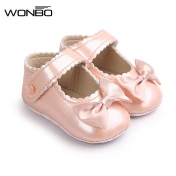Autumn Soft Sole Girl Baby Shoes PU First Walkers Baby Girl Butterfly-knot Shoes 0-18 Months Baby Moccasins Shoe