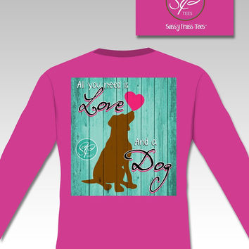 Sassy Frass Comfort Colors All You Need is Love & a Dog Heart Long Sleeve Bright Girlie T Shirt