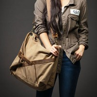 Brown Leather Canvas Bag Breifcase Tote