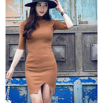 DCCKJ1A HOT HIGH COLLAR SLIT KNIT DRESS