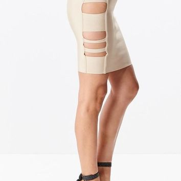 Caged Side Pencil Skirt
