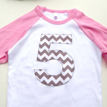 Pink and White Raglan Baseball Shirt with Biggie Chevron Number- Girls Birthday Party- Any Number