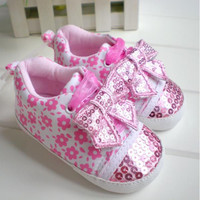 Pink Sequin Bow Sneakers