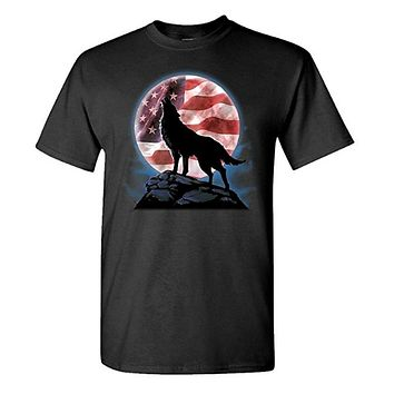 HOWL wolf moon patriotic Mens Cotton T-Shirt
