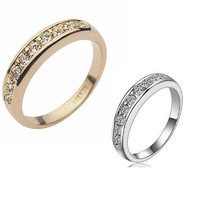 Gold 18K Rose Gp Elegent Classic Crystal Fashion Bridal Finger Ring Gift = 1932344644