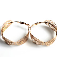 """Woven"" Gold Hoop Earrings"