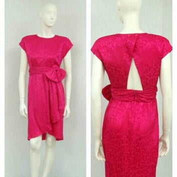 Vintage 80s Fuchsia Silk Dress, Pink Party Dress, Keyhole Back Dress, Bow Dress, Jacquard Dress, Knee Length Dress, Short Formal Dress