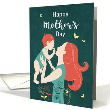 Silhouette Mother's Day with Mother and Child card