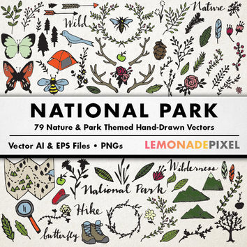 Nature Clipart - National Park, Art & Design Resources, Camping Clipart, Hiking Vector, Wilderness Clipart, Nature Art, Scrapbooking element