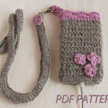 Fall crochet PATTERN-Crochet knitted cell phone cozy, Cell phone holder with a strap, KNIT iPhone Case, - Fits iPhone and iPod Touch