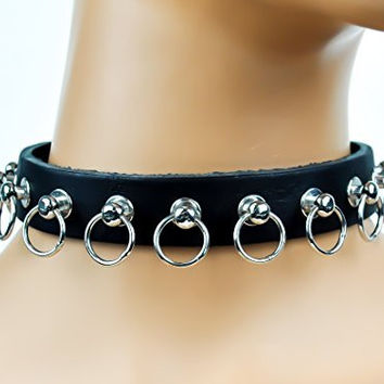 "O Ring Hoop Studs Leather Choker 3/4"" Wide"