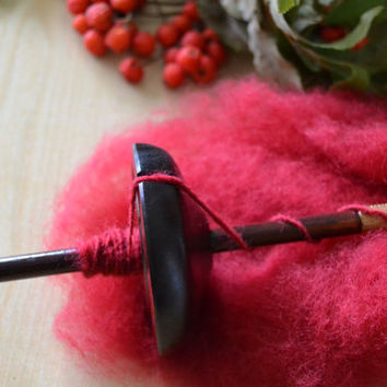 Top Whorl Drop Spindle Wood Aspen Tree Dark Brown With Colorful Wool Red, Spinning Tool, Learn How to Spin