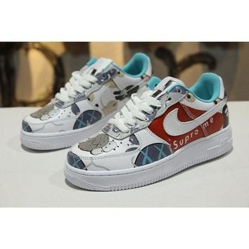 ONETOW Supreme x Kaws x Bape x Nike Air Force 1 Low AF1 Customize Graffiti Sport Shoes