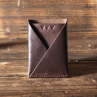 Handmade Leather Card Wallet - Card Holder Slim Card Wallet Business Card #Brown