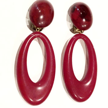 Plastic Clip on Earrings Dangle Big Hoops Wine Red Maroon Vintage Jewelry