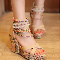Summer shoes multicolour beads bohemia national trend ultra high heels wedges sandals