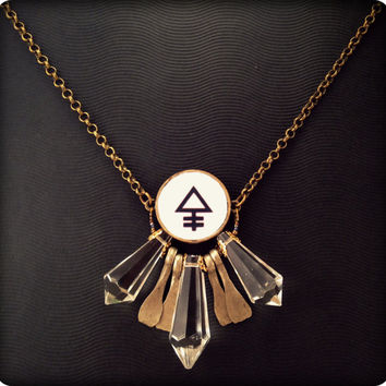 Crystal and Alchemy Bezel Necklace. Old tribal findings. Esoteric jewelry. Steampunk Necklace. Phosphor