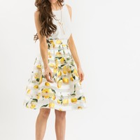 Piper Stripe Lemon Midi Skirt