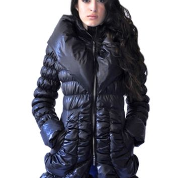 Ciao Milano Montcler Down Puffer Coat in Black | ShopAmbience