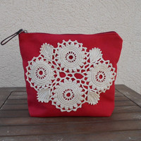 Red Clutch Purse, Lace Makeup Bag, Crochet Lace Clutch, Zippered Makeup Bag, Red Purse, Lace Cosmetic Bag, Cristmas Gift for Her