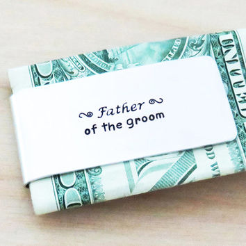 Father of the Groom Gift - Personalized Money Clip wedding gift - Father of the groom money clip wedding gift