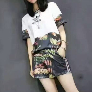 """""""Adidas"""" Fashion Casual Multicolor Stitching Clover Letter Feather Print Short Sleeve Set Two-Piece Sportswear"""