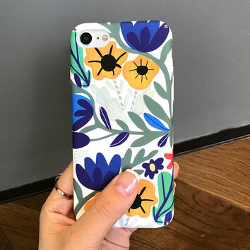 Blue Floral iPhone 7 7Plus & iPhone se 5s 6 6 Plus Case Best Protection Cover +Gift Box