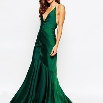 ASOS RED CARPET Deep Plunge Soft Fishtail Maxi Dress